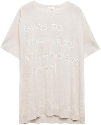 Brunello Cucinelli Embroidered Melange Cashmere And Silk-blend T-shirt