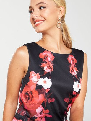 Wallis Trailing Rose Scuba Shift Dress - Black