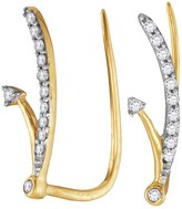 Saris and Things 10kt Yellow Gold Womens Round Diamond Curved Climber Earrings 1/10 Cttw