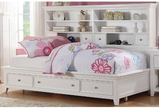 Harriet Bee Congdon Mate's Bed with Drawers and Bookcase Size: Twin, Bed Frame Color: White