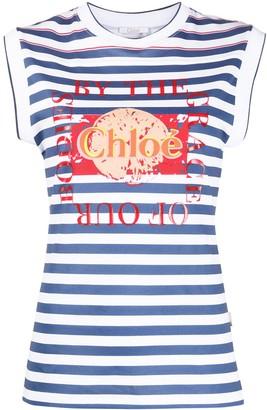 Chloé Horizontal-Stripe Tank Top