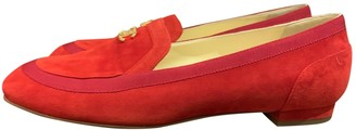 Chanel Red Suede Flats