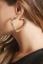 Forever 21 FOREVER 21+ Bamboo Texture Heart Hoop Earrings
