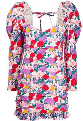 Giuseppe di Morabito Ruched Rose-Print Mini Dress