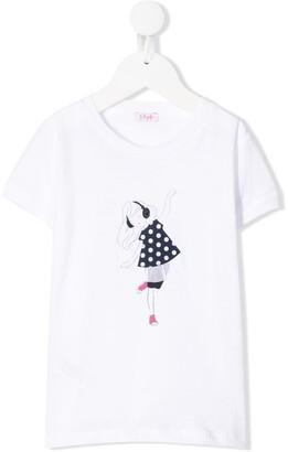 Il Gufo short sleeve music girl print T-shirt
