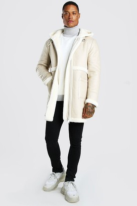 boohoo Mens White Leather Look Borg Trim Longline Hooded Aviator, White