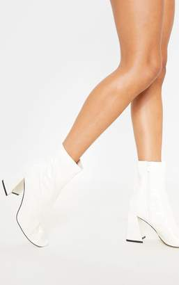 PrettyLittleThing White Square Toe Flared Block Heel Ankle Boot