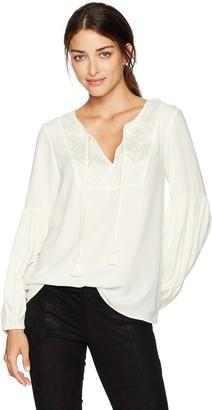 Kensie Women's Luxury Crepe Long Sleeve Tassel Top