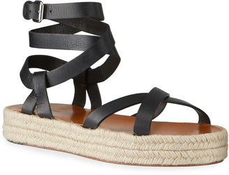 Isabel Marant Melyz Leather Ankle-Wrap Espadrille Sandals