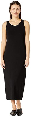 Eileen Fisher Petite Viscose Jersey Scoop Neck Dress (Black) Women's Dress