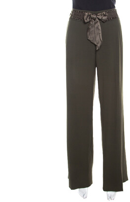 Escada Military Green Wool Crepe Satin Waist Tie Detail Wide Leg Pants L