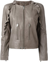 Diesel ruffled detail zipped jacket - women - Cotton/Lamb Skin/Acetate - XS