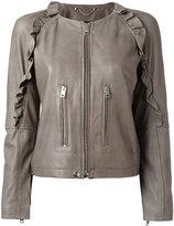 Diesel ruffled detail zipped jacket - women - Lamb Skin/Cotton/Acetate - XS