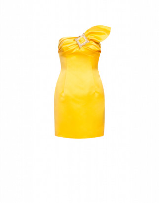 Moschino Duchesse Bustier Dress Gold Frame Woman Yellow Size 38 It - (4 Us)