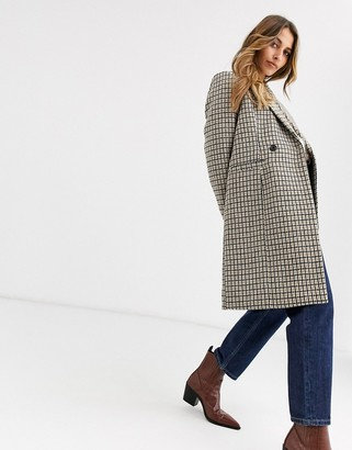 Vero Moda checked tailored coat-Brown