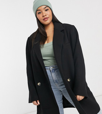 ASOS DESIGN Curve boyfriend coat in black