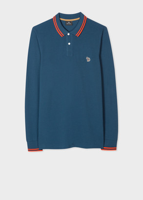 Paul Smith Men's Slate Blue Cotton Zebra Logo Long-Sleeve Polo Shirt With Collar Trims