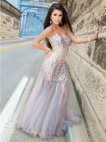 Blush Lingerie CB905 Strapless Embellished Tulle Long Gown