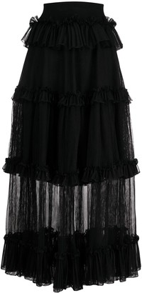 Alexander McQueen Sheer Panel Tiered Skirt