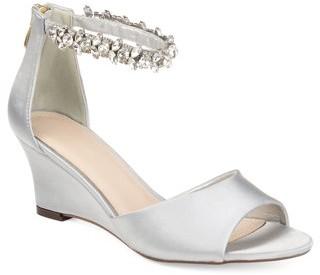Brinley Co. Womens Jeweled Open-toe Wedge