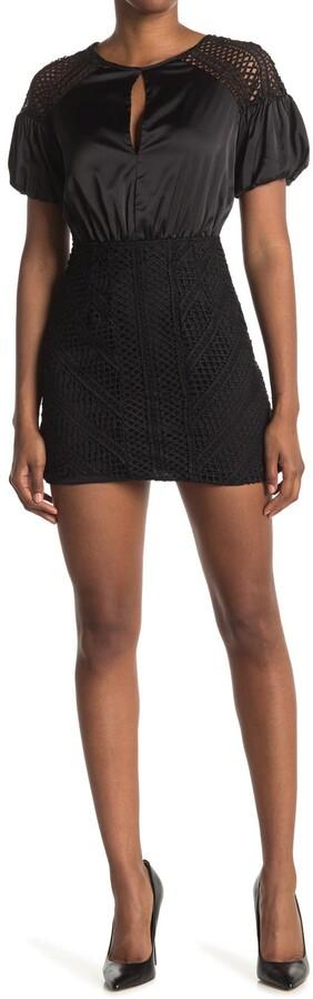 Do & Be Satin & Crochet Puff Sleeve Dress