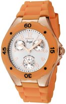 Invicta Women's 0712 Angel Collection Multi-Function Rose Gold-Plated Orange Polyurethane Watch