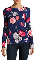 Lord & Taylor Petite Floral Long Sleeved Cardigan