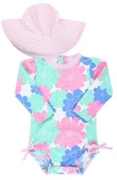 RuffleButts Baby Girls Long Sleeve Rash Guard Swimsuit Swim Hat Set