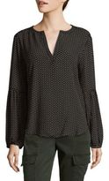 Saks Fifth Avenue Dotted Bubble Sleeve Top