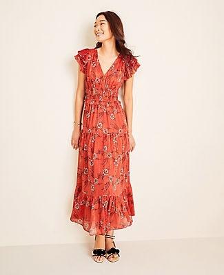 Ann Taylor Shimmer Floral Flutter Sleeve Maxi Dress