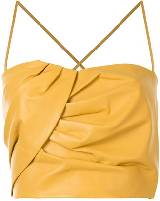 Mason by Michelle Mason Pleated Cropped Top