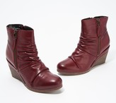 Miz Mooz Leather Ruched Wedge Ankle Boots - Baron