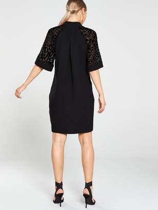 Whistles Lina Animal Dobby Sleeve Dress - Black