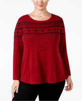 Style&Co. Style & Co. Plus Size Printed Mélange Top, Only at Macy's