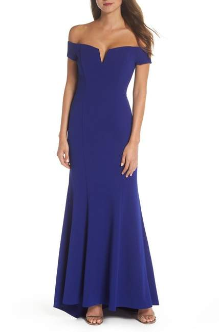 Notched Off the Shoulder Trumpet Gown (Regular & Petite)