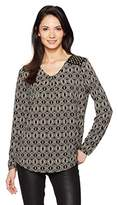 Jones New York Women's 'v' NK L/Slv Pleat Top W/Studs
