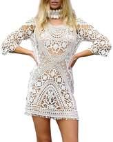 Imixshop Womens Crochet Swimwear Cover up Bikini Beachwear Swim Beach Dress (, Beige)