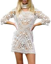 Imixshop Womens Crochet Swimwear Cover up Bikini Beachwear Swim Beach Dress (, Black)