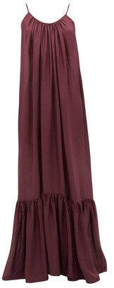 Kalita Brigitte Habotai Silk Maxi Dress - Womens - Dark Purple