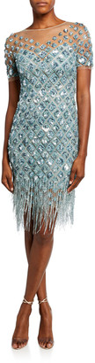 Pamella Roland Beaded Cocktail Dress