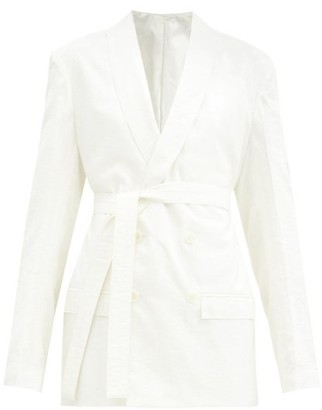 Lemaire Double-breasted Belted Silk-blend Jacket - Ivory