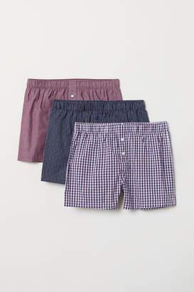 H&M 3-pack Woven Boxer Shorts - Purple