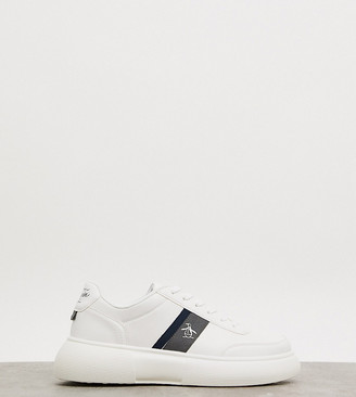 Original Penguin wide fit chunky sole lace up sneakers in white