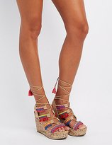 Charlotte Russe Embellished Lace-Up Wedge Sandals