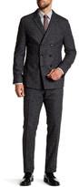 HUGO BOSS T-Noan/Baron Black Pinstripe Double Breasted Peak Lapel Trim Fit Suit