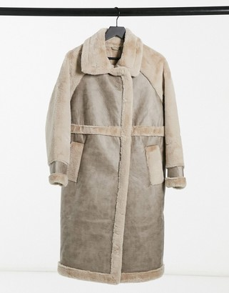 Vila longline faux fur coat with panelled detail in beige