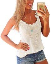 Pooqdo Women Vest Shirt Cotton+Lace Camisole Top Blouse (XL, )
