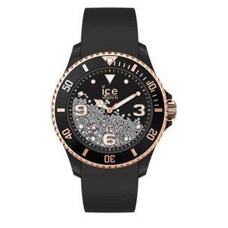Ice Watch Ice-Watch - ICE crystal Black rose-gold - Women's wristwatch with silicon strap - 017249 (Medium)