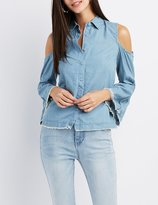Charlotte Russe Chambray Cold Shoulder Button-Up Top