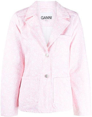 Ganni Floral-Print Denim Jacket
